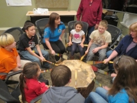 Cow Creek students in a drumming class
