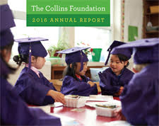 Cover of The Collins Foundation 2016 annual report with five young children coloring in graduation caps and gowns